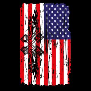 American Flag Piston Shirt Track Racing Mechanic