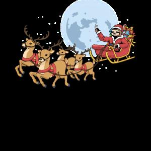 Weihnachtsmann Schlitten Rentier Faultier Geschenk