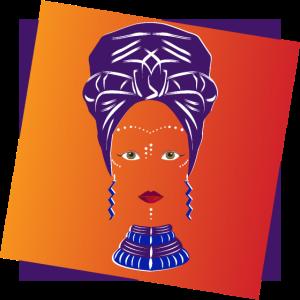 Afrikanisches lila blaues Headwrap
