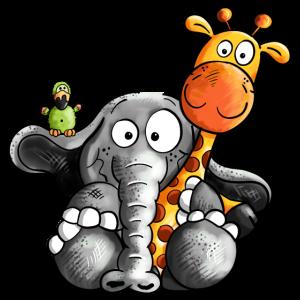 Elefant umarmt Giraffe