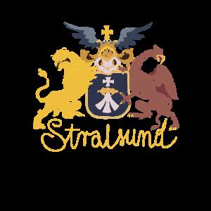 Stralsund Wappen begleitet von Greif und Löwe