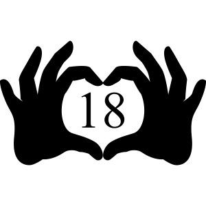 mains coeur 18