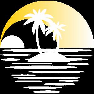 Insel mit Palmen gelb
