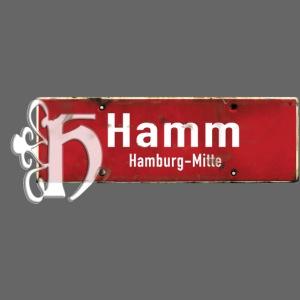 Ortsschild Hamburg-Hamm mit Vintage-Initial