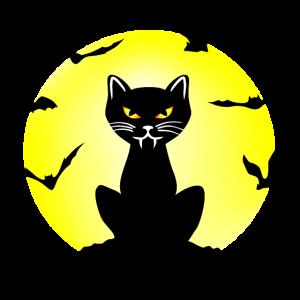 Böse Drakula Katze und Fledermäuse, Halloween
