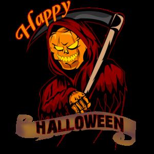 pumplin reaper sensenmann happy halloween grusel