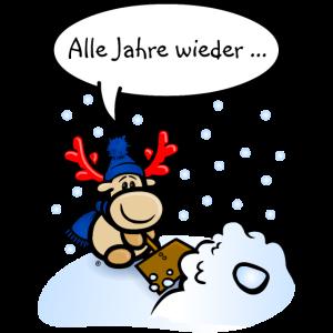Elch Elmondo beim Schneeschippen