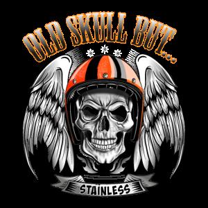 Motorradfahrer mit Totenkopf oder Schädel mit Helm