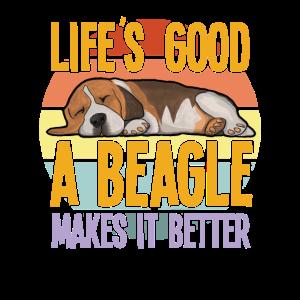 Beagle Dog - Das Leben ist gut Ein Beagle macht es besser