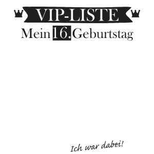 VIP Liste 16 Geburtstag Gästeliste zum Eintragen