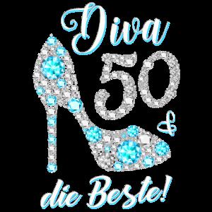 Diva die Beste Diamanten 50. Geburtstag Geschenk