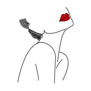 Silhouette eleganter Frau mit rotem Lippenstift