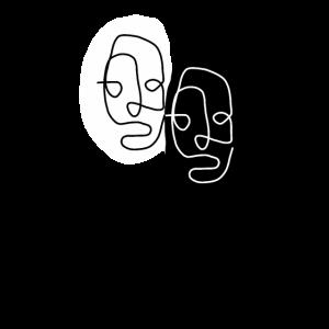 Gesichter - Line Art - Kunst