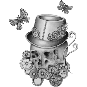 Totenkopf mit zahnrädern und Schmetterlingen