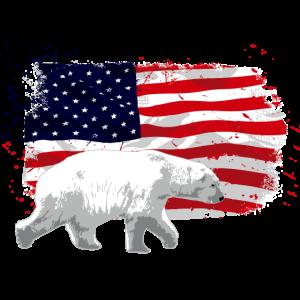 Polar Bear - USA Flag