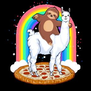 Süßes Faultier reitet auf Lama Regenbogen Pizza