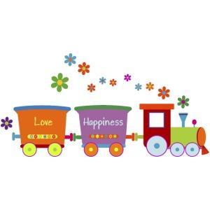 Eisenbahn Kinderspielzeug Zug Frühlingsblumen bunt