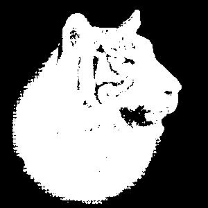 Tiger Portrait Profil schwarz-weiß (dunkle Prod.)