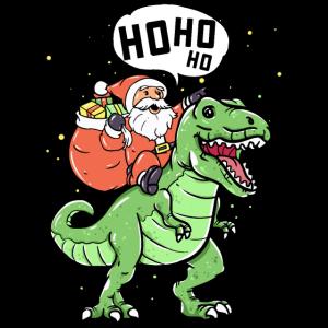 Weihnachtsmann Nikolaus reitet Dino Geschenk Trex