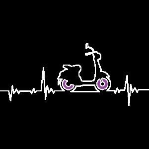Roller E-Roller Motorroller Herzschlag Pulslinie