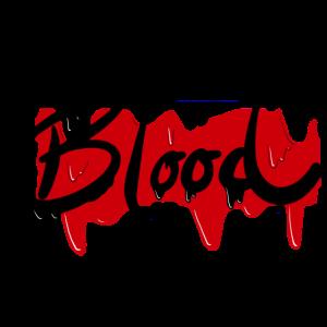 Blood — blutroter Halloween Schriftzug