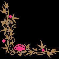 Bambus mit Lotusblüte und kleinen Blüten.