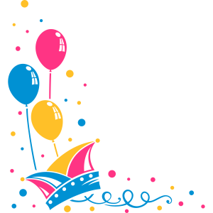 Karneval, Narrenmütze mit Luftballons