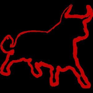 Stier Rot Torero Spanien Pinselstrich
