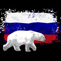 Russia Flag - Polar Bear