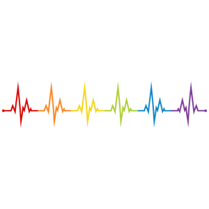 LGBT Herzschlag EKG Gay Pride CSD Regenbogen Bunt