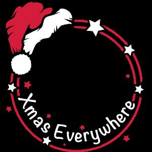 weihnachtlicher Rahmen mit Weihnachtsmütze & Typo