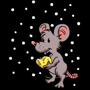 Kleine Käse Maus in Schnee Xmas Weihnachten Winter