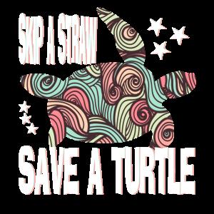 Schildkroete Skip a straw save a turtle
