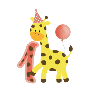 1 Jahr Erster Geburtstag Giraffe mit Ballon