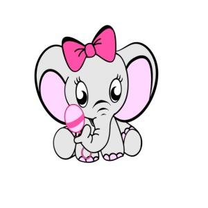 Baby olifantje met rammelaar en grote roze strik