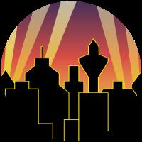 Skyline mit Scheinwerfern