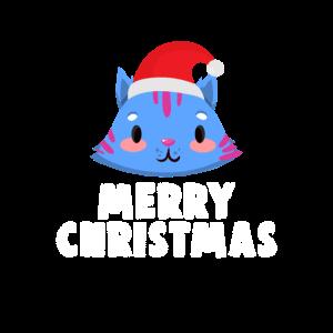 Katze mit Wintermütze Weihnachten Katzenlady