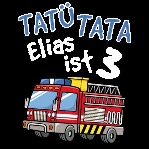 Elias Feuerwehr T-Shirt 3. Geburtstag
