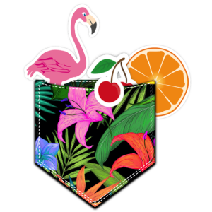 Cocktail Kirsche Flamingo Brusttasche Hawaii look