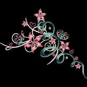 Florale Ranke mit Schmetterlingen, girlie style
