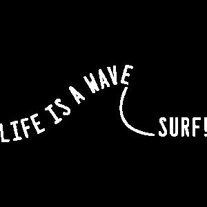 Life is a wave, surf! Typografie Spruch