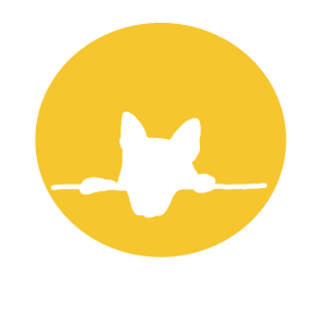 Hundekopf im gelben Kreis