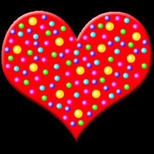 Rotes Herz mit Punkten