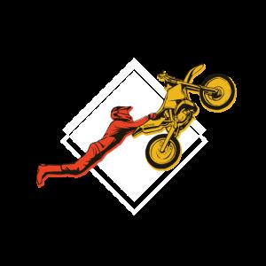 Motorcross Stunt mit Motorradfahrer der springt