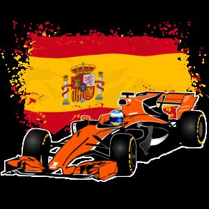 Racecar - Rennauto - Spain Flag
