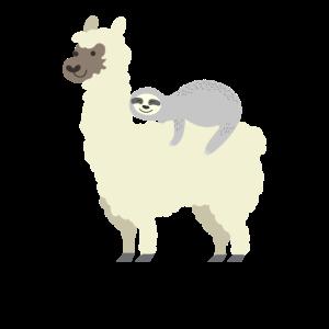 Nette & lustige Faultierreit-Lama-beste Freunde