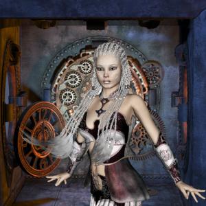 Wunderbare Steampunk Lady mit Uhren