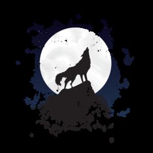 Heulender Wolf Wolf bei Vollmond