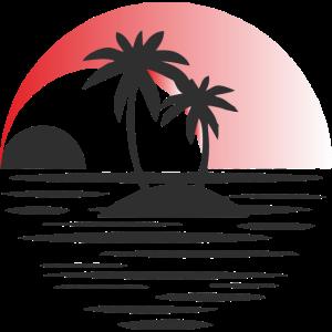 Insel mit Palmen schwarz