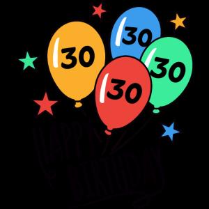 Happy Birthday Luftballons 30 Geburtstag HARIZ Ges
